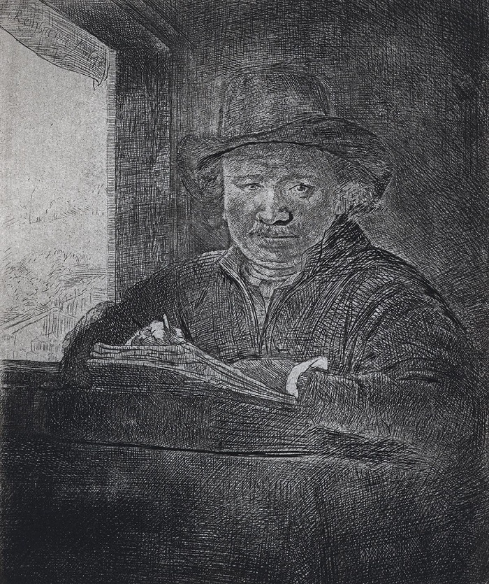 """""""Self Portrait Drawing at a Window"""" (1648), Rembrandt"""