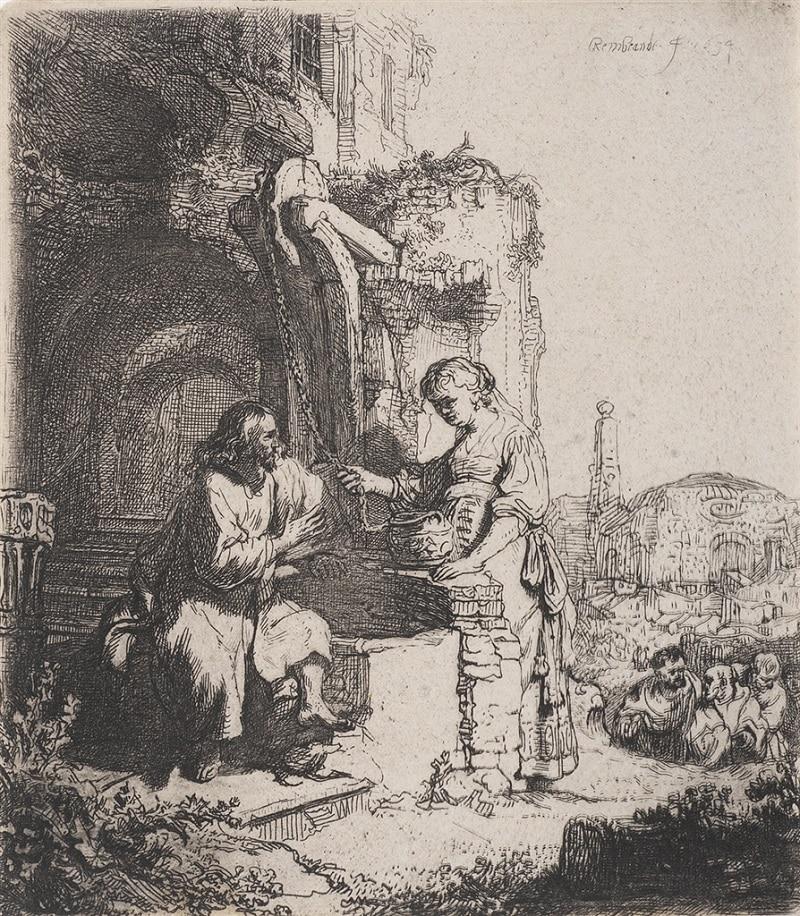 """""""Christ and the Woman of Samaria: Among Ruins"""" (1634)"""