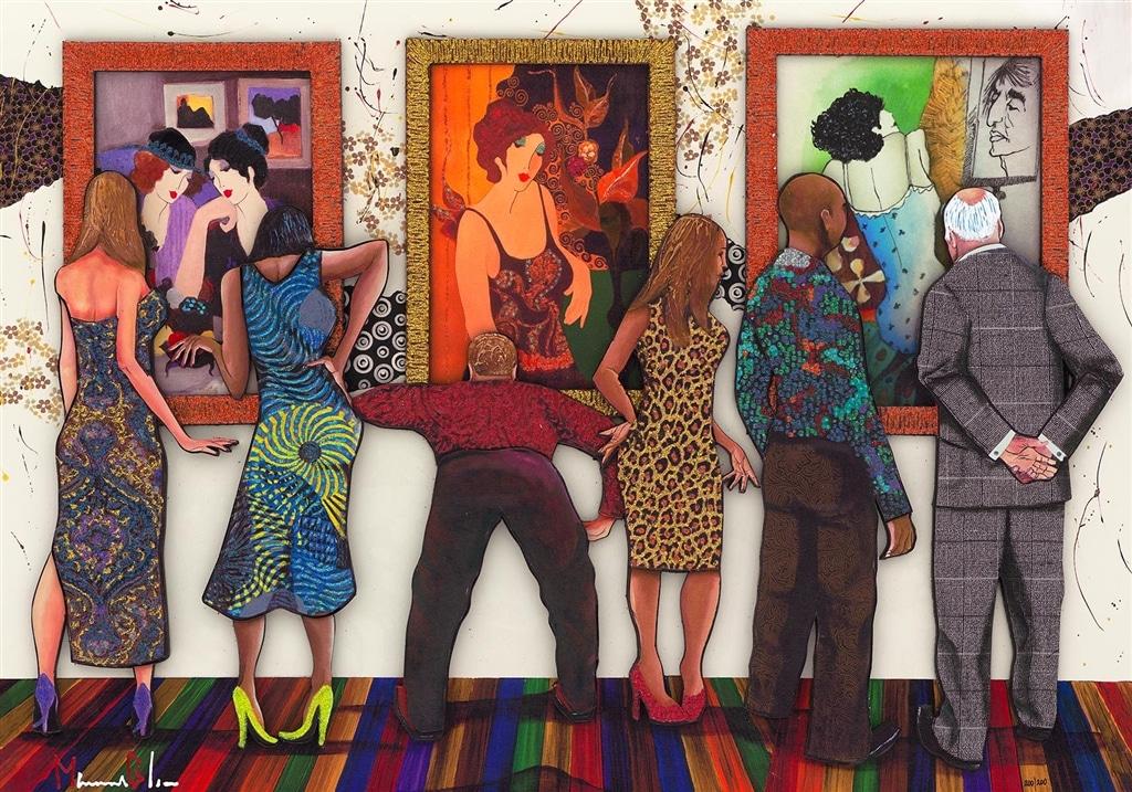 """""""Spectator at Tarkay Exhibition,"""" Marcus Glenn"""