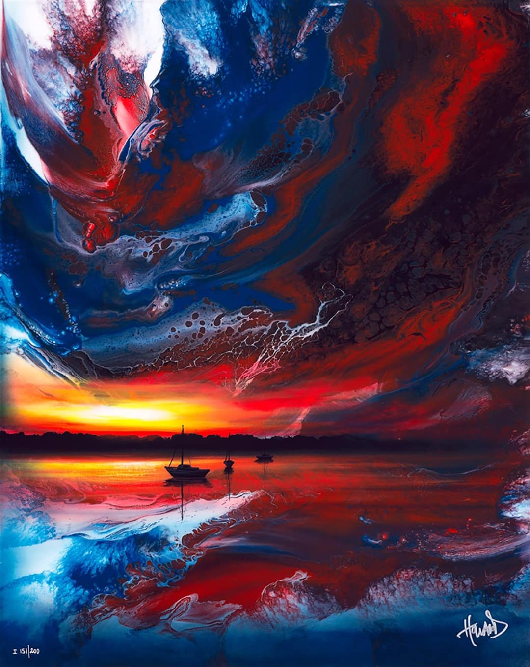 Ashton Howard painting of a sailboat on a calm lake in front of a vibrantsunset