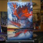 Ashton Howard painting sits on an easel in this new video.