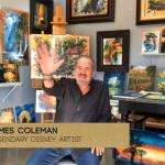 James Coleman in his studio waving at his webcamera