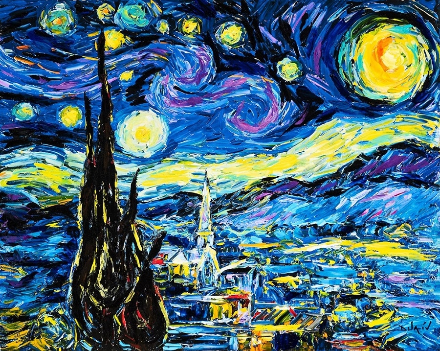 """An homage to Vincent Van Gogh's """"Starry Night"""" by Park West artist Duaiv."""