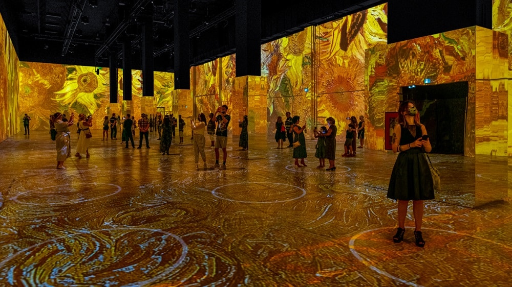 A look inside the Immersive Van Gogh exhibition in Chicago. (Image via NBC Chicago.)