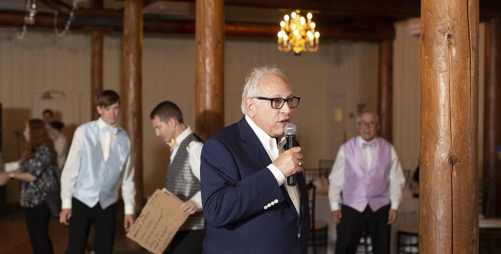 WJR's Paul W. Smith giving a toast at Albert Scaglione's 80th birthday party on Michigan's Mackinac Island.
